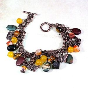 Gemstone Copper Chain Charm Bracelet